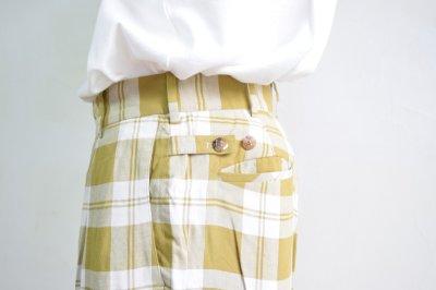 画像2: 【MORE SALE】ES:S (エス) TUCKED BAGGY PANTS [YELLOW check]