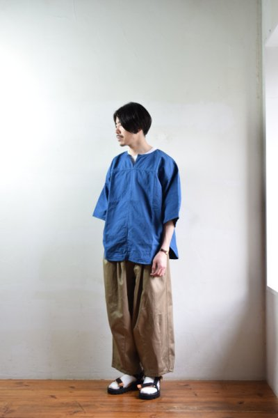 画像1: 【MORE SALE】is-ness (イズネス) FRENCH LINEN PANEL T [2-colors]