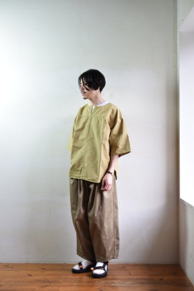 画像2: 【MORE SALE】is-ness (イズネス) FRENCH LINEN PANEL T [2-colors]