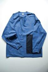 画像1: E.TAUTZ / COWL NECK SHIRT [DENIM BLUE/NAVY CONTRAST] (1)