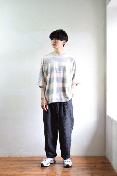 画像1: 【SALE】UNUSED (アンユーズド) Short  Sleeve Border T-Shirt / US1951 [Gray × Beige]