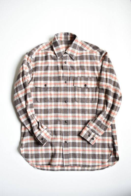 画像1: 【MORE SALE】URU (ウル) WOOL CHECK L/S SHIRTS [ORANGE×BROWN] (1)