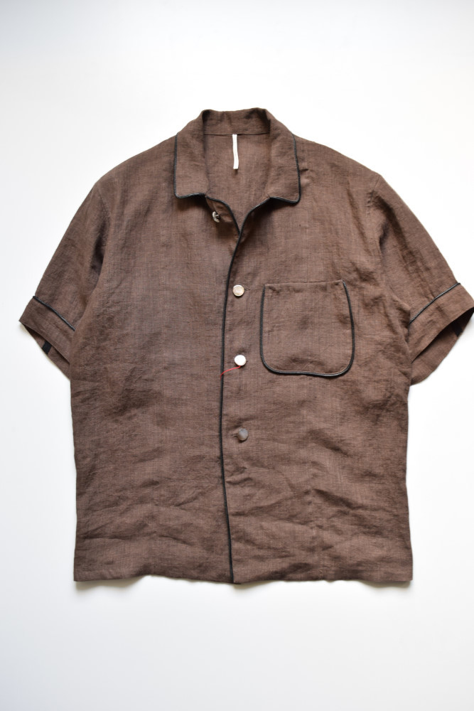 画像1: m's braque (エムズ ブラック) SHORT SLEEVE SHIRTS JACKET [絣調 BROWN LINEN] (1)