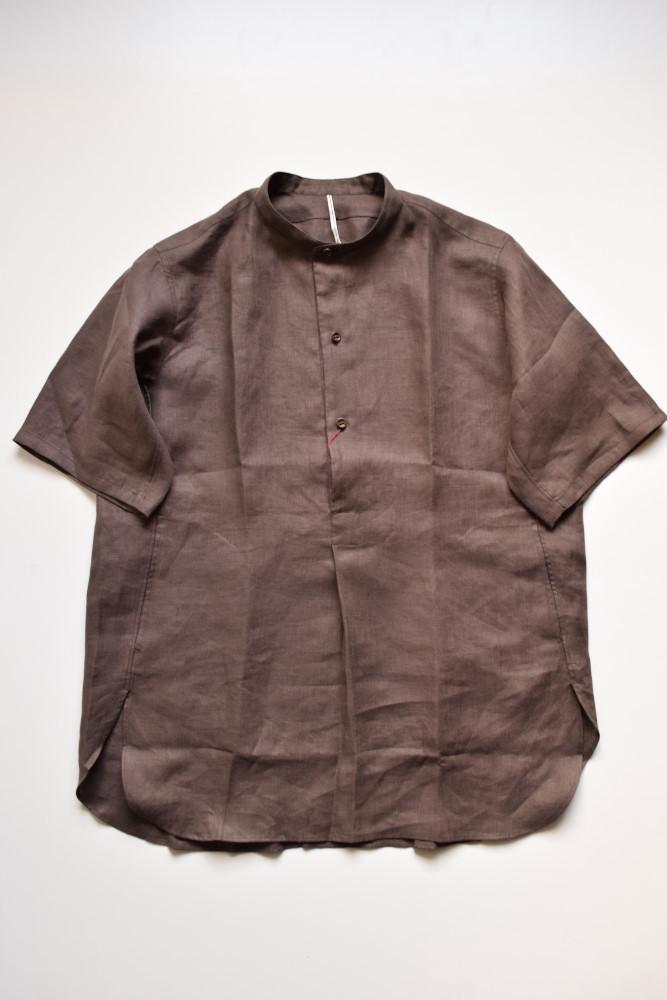 画像1: m's braque (エムズ ブラック) STAND COLLAR PULL OVER LONG SHIRTS with pocket [BROWN LINEN] (1)