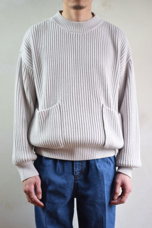 画像1: 【SALE】UNUSED (アンユーズド) 3G pullover knit / US1606 [ice white]  (1)