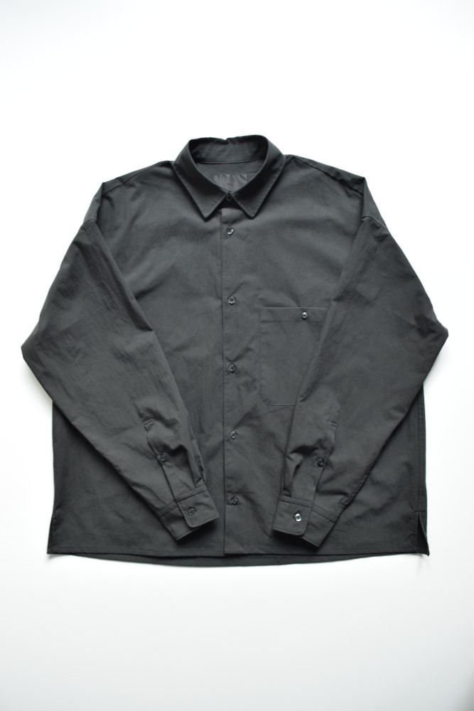 画像1: bukht (ブフト) LOOSE SHIRTS -VINTAGE TYPEWRITER FAB- [BLACK] (1)