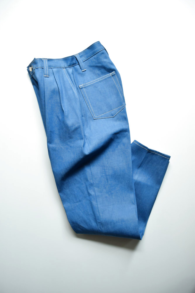 画像1: E.TAUTZ / PLEATED CHORE TROUSERS [PALE INDIGO DENIM] (1)