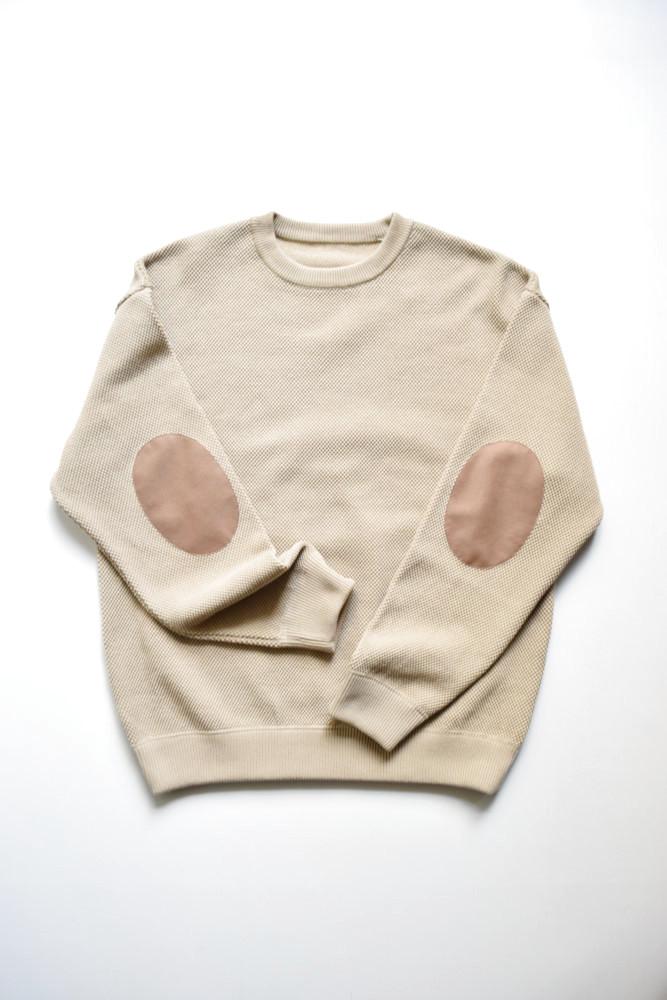 画像1: crepuscule (クレプスキュール) moss stitch L/S sweat [Beige] (1)