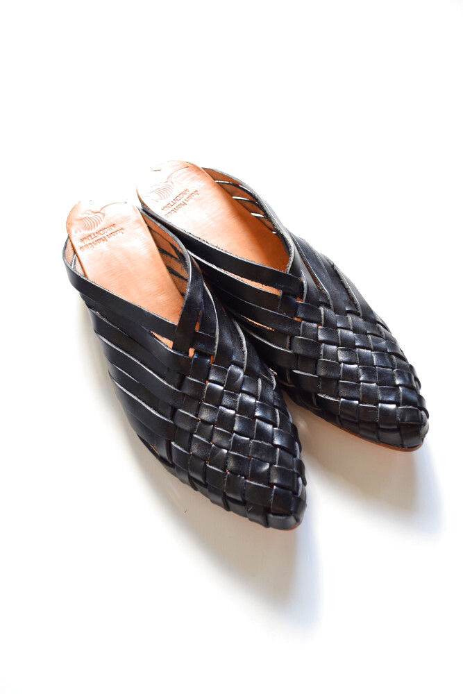 画像1: Juan Montes (フアン モンテス) Punt Leather Zapatillas [BLACK] (1)